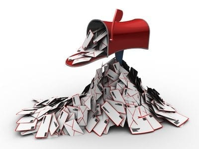 an inbox full of mail envelopes, clipping path included